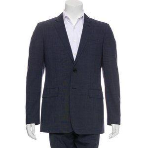 Burberry Navy Virgin Wool Plaid Suit Blazer 54 L